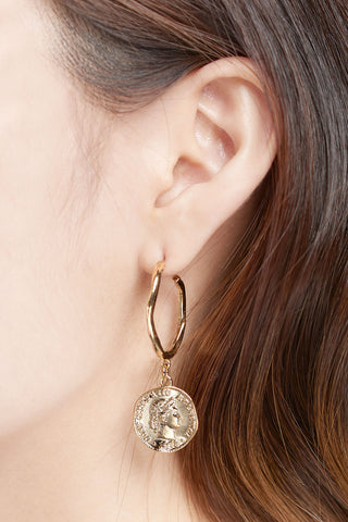 Pendant On Ring Earrings-Gold