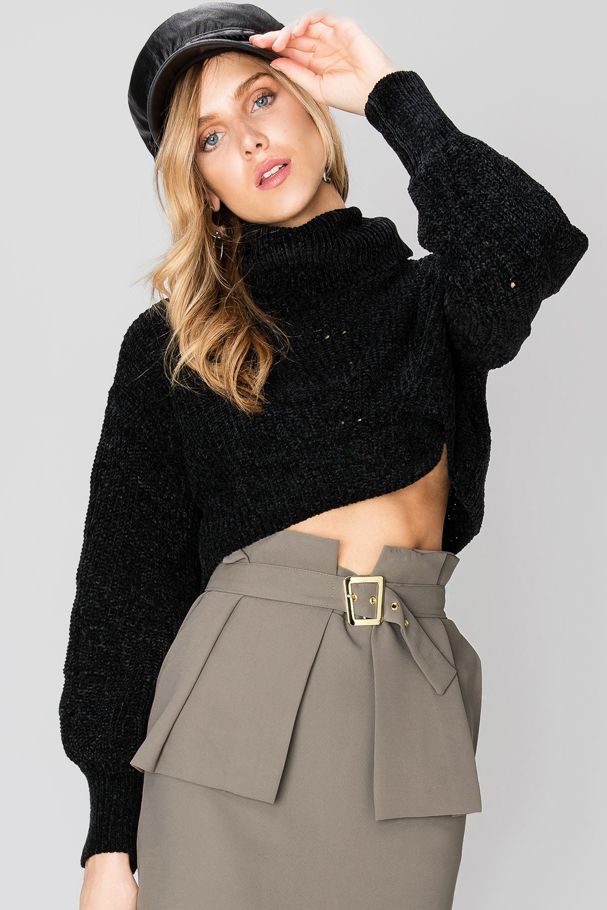 Petra Cropped Turtleneck Sweater-2 Colors