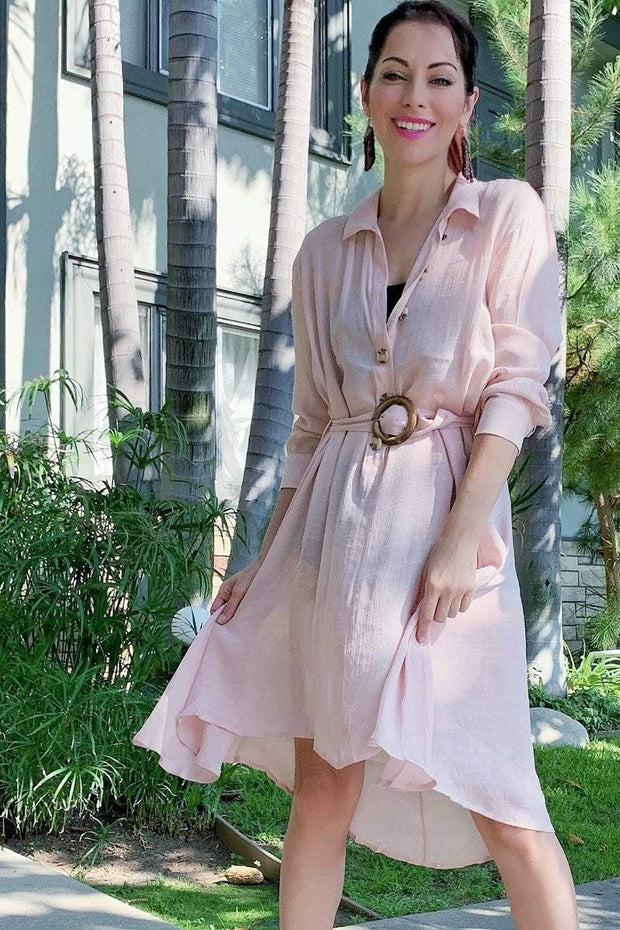 [DOUBLE ICON] US TOGETHER SHIRT DRESS - BLUSH - Shop Double Icon