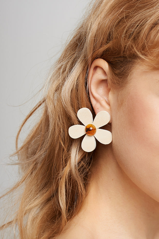Pine Flower Earrings-Beige