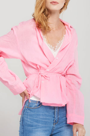 Piper Summer Linen Shirt-Pink