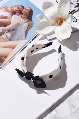 Dotted Ribbon Hairband-White