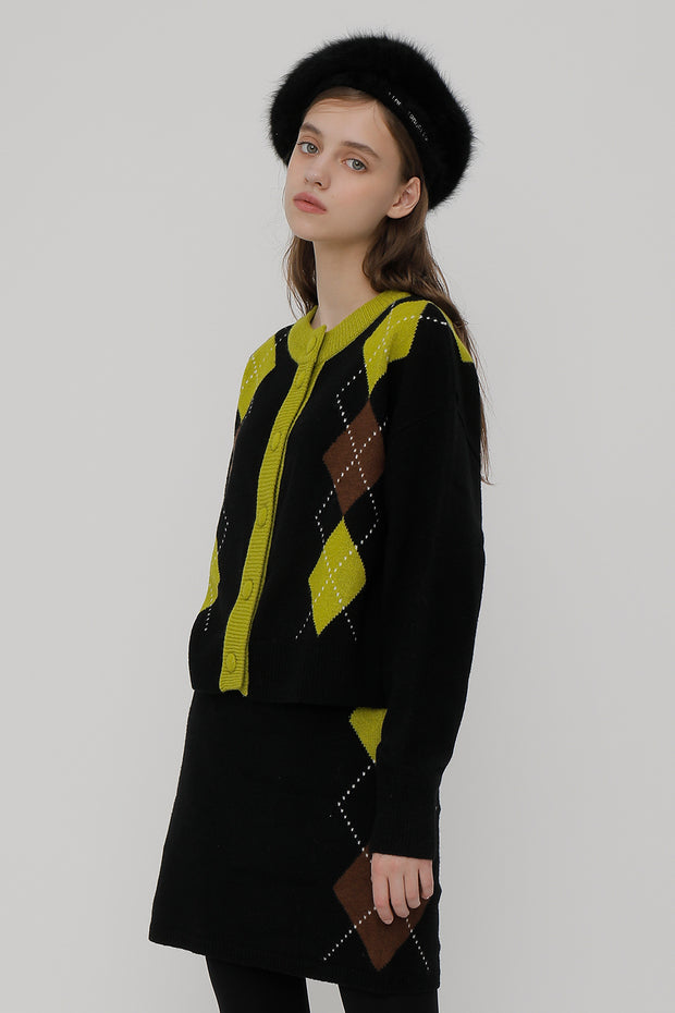 [ROCKETXLUNCH] R Big Argyle Two Way Knit