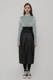 [ROCKETXLUNCH] R Big Belt Eco Leather Skirt