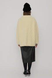 [ROCKETXLUNCH] R Cable Mix Cardigan_Unisex