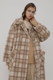 [ROCKETXLUNCH] R Check Fur Coat