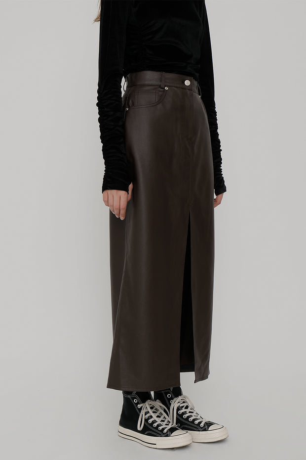 [ROCKETXLUNCH] R Deep Slit Eco Leather Skirt