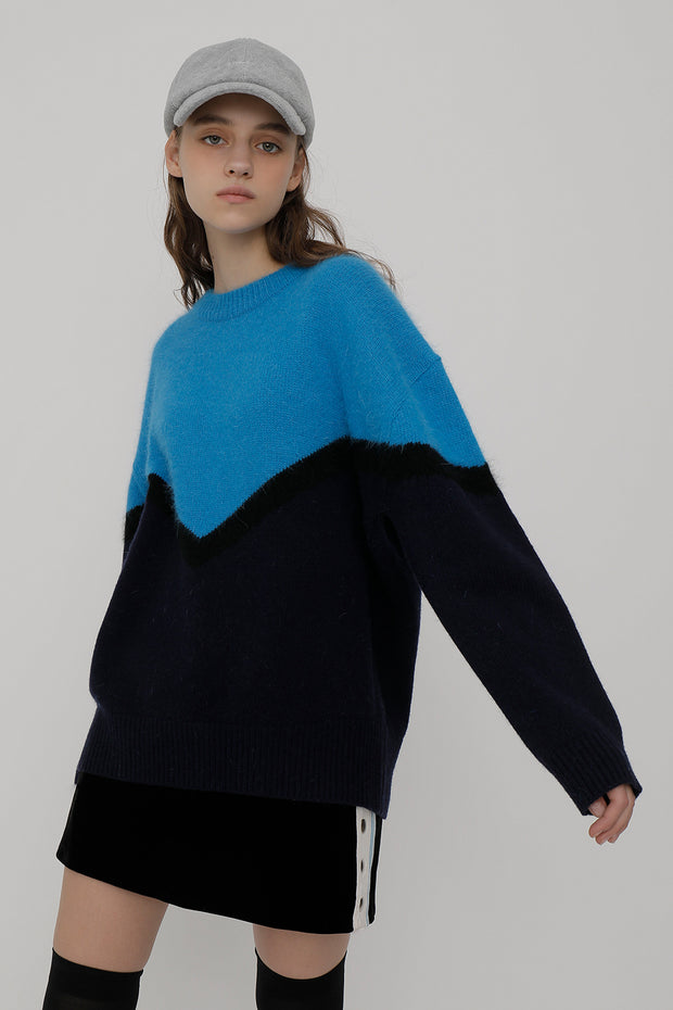 [ROCKETXLUNCH] R Deep V Line Angora Knit_Blue_Unisex