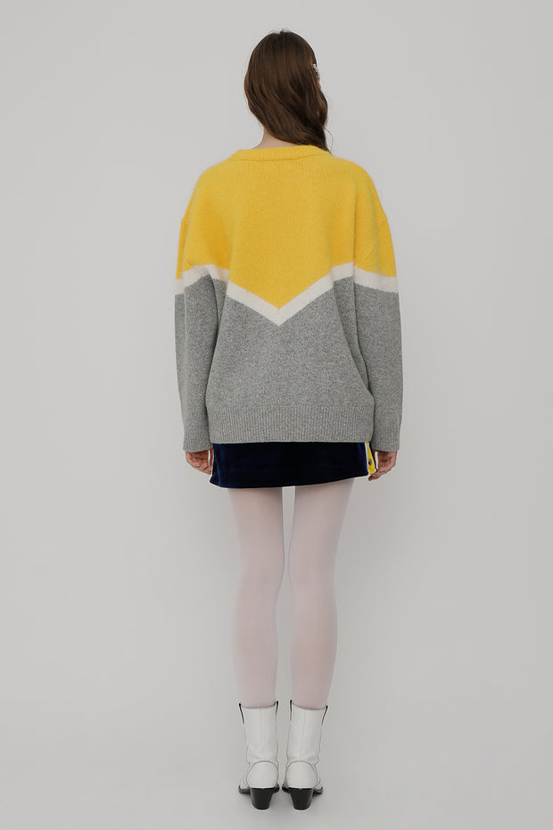 [ROCKETXLUNCH] R Deep V Line Angora Knit_Yellow_Unisex