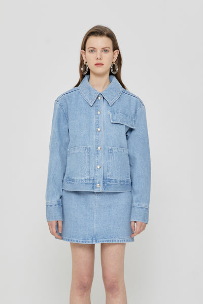 [ROCKETXLUNCH] R Denim Stitch Jacket