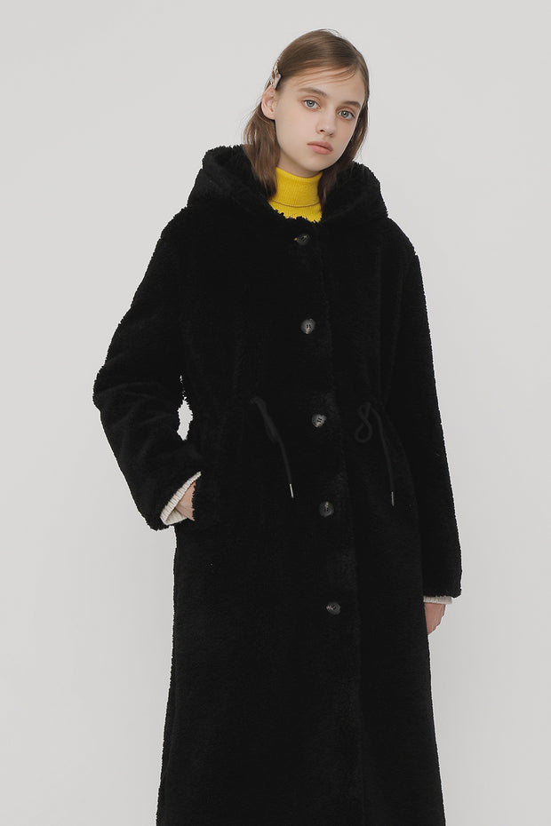[ROCKETXLUNCH] R Hoodie Fur Long Coat_Black
