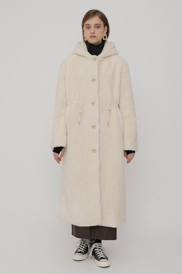 [ROCKETXLUNCH] R Hoodie Fur Long Coat_Ivory