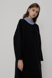 [ROCKETXLUNCH] R Neck Color Two Way Knit Dress
