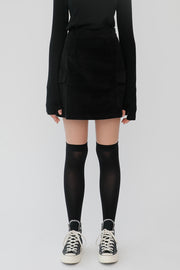 [ROCKETXLUNCH] R Pocket Corduroy Skirt_Black
