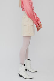 [ROCKETXLUNCH] R Pocket Corduroy Skirt_Cream