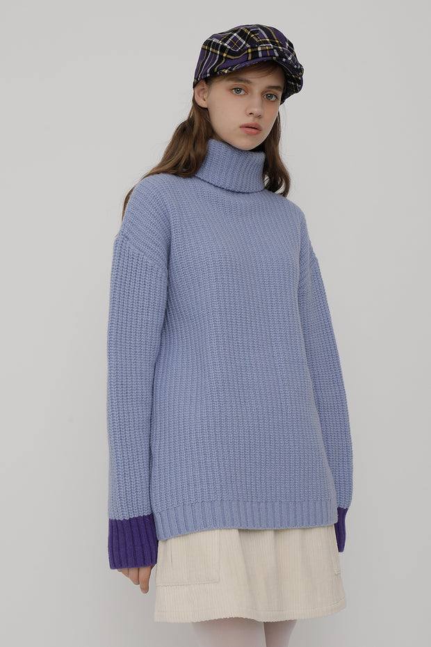 [ROCKETXLUNCH] R Sleeve Color Knit