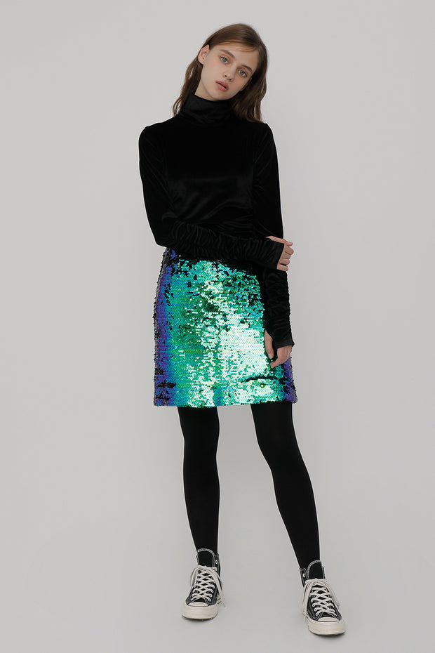 [ROCKETXLUNCH] R Spangle Mini Skirt