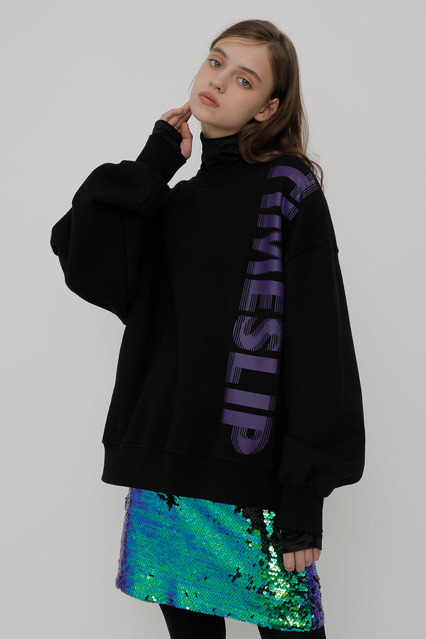 [ROCKETXLUNCH] R Timeslip Sweatshirt_Black_Unisex