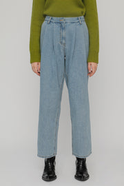 [ROCKETXLUNCH] R Two Tuck Loose Fit Denim Pants_Unisex