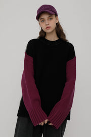 [ROCKETXLUNCH] R Two Way Color Knit_Purple_Unisex