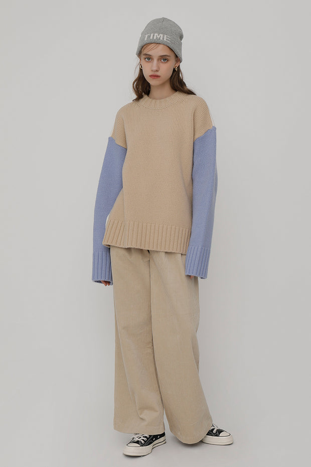 [ROCKETXLUNCH] R Two Way Color Knit_Sky Blue_Unisex