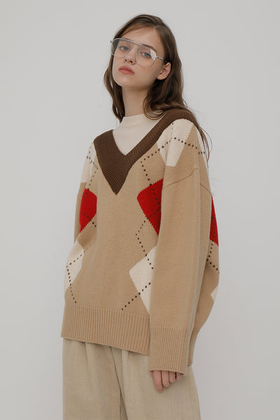 [ROCKETXLUNCH] R V Big Argyle Knit_Beige_Unisex