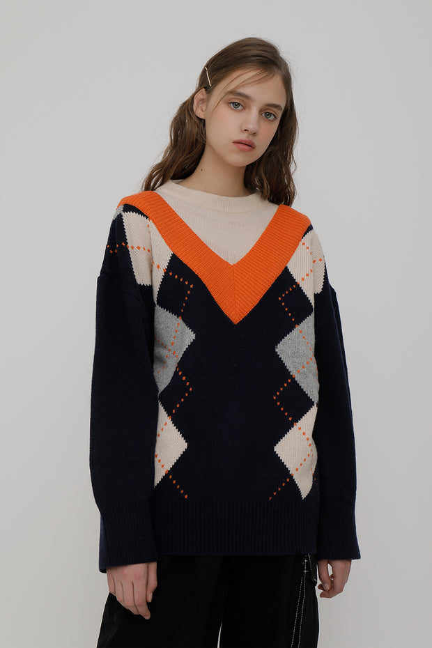 [ROCKETXLUNCH] R V Big Argyle Knit_Navy_Unisex