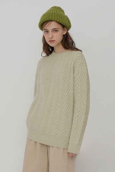 [ROCKETXLUNCH] R V Cable Knit_Sage_Unisex