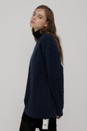 [ROCKETXLUNCH] R V Cable Knit_Navy_Unisex