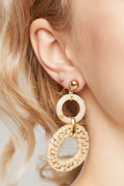 Rattan Earrings-Beige
