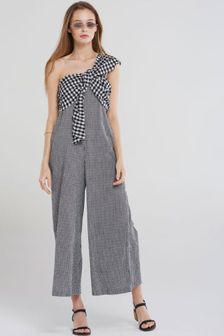 Riley Gingham Mix Jumpsuit-Black