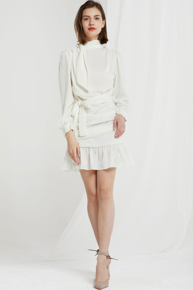 Rilynn Tie Collar Drape Dress