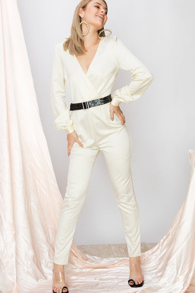 storets.com Samantha Collarless Satin Wrap Jumpsuit