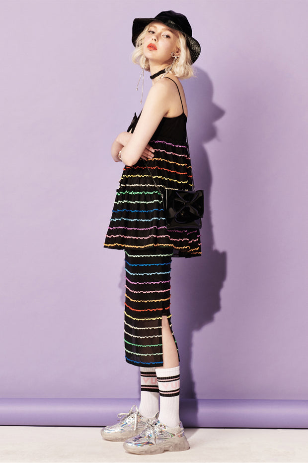 [VVV] Tiered Rainbow Midi Skirt in Black
