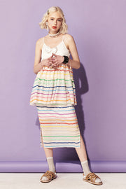 [VVV] Tiered Rainbow Midi Skirt in White