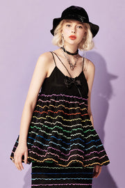 [VVV] Tiered Rainbow Cami Top in Black