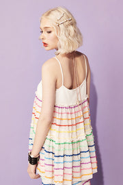 [VVV] Tiered Rainbow Cami Top in White