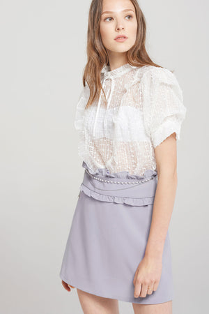 Sara See-through Lace Blouse-Ivory
