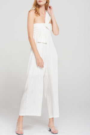 Selina One Shoulder Jumpsuit-White