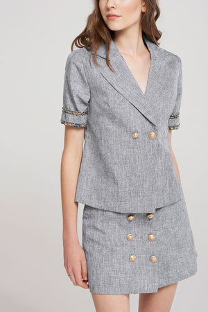 Shana Palace Button Blouse And Skirt Set-Gray