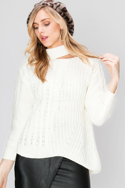 Shasa Cable Knit Half Choker Sweater