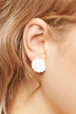 Shell Stud Earrings-Ivory