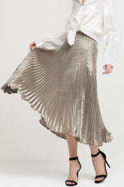 Skyler Metallic Pleated Maxi Skirt