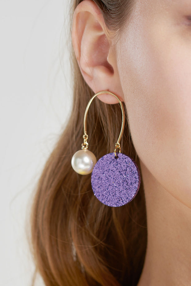 Spangle Unbalanced Earrings-Purple