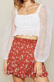 storets.com Martina Sheer Sleeve Ruched Crop Top