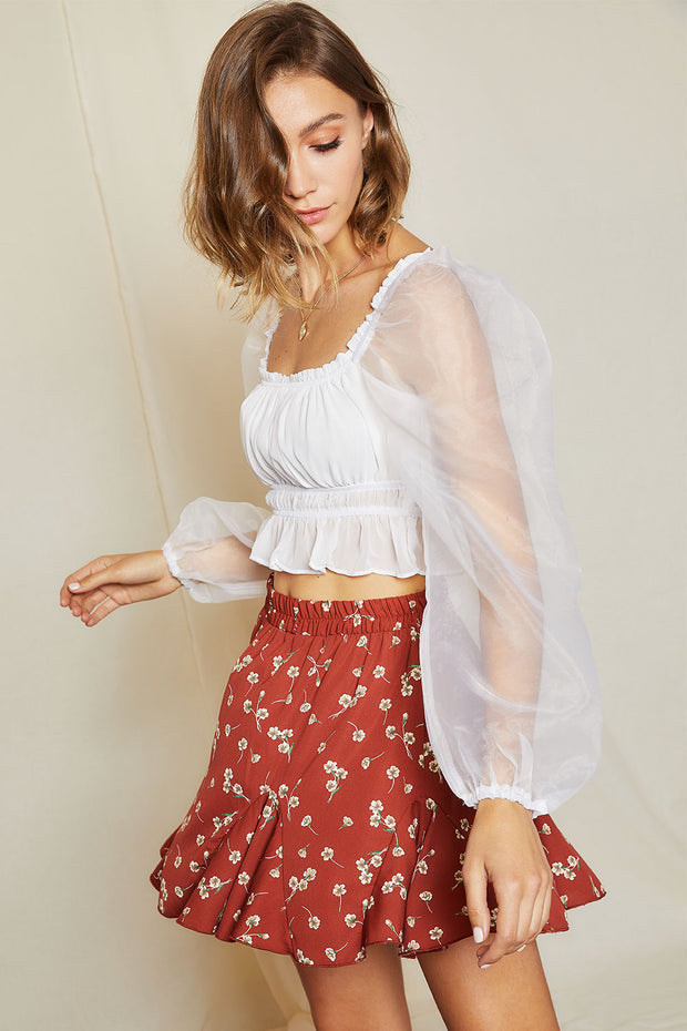 Martina Sheer Sleeve Ruched Crop Top
