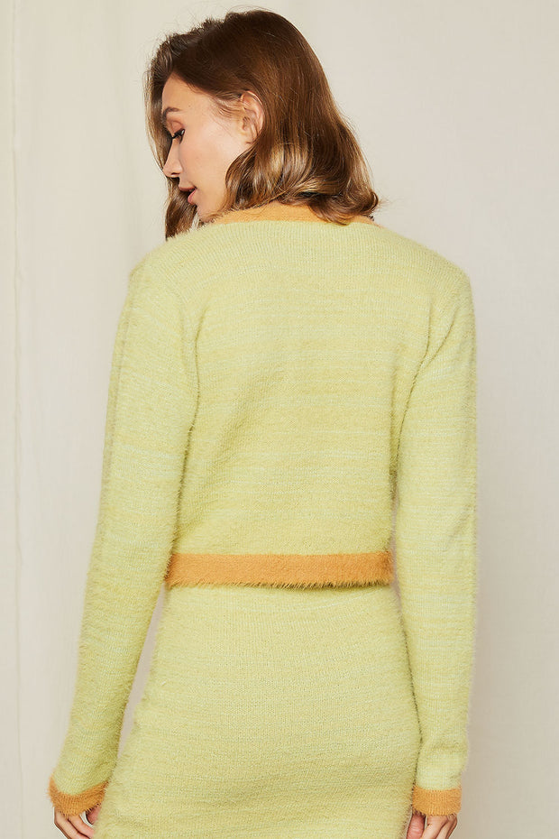 Bonita Fuzzy Contrast Color Cropped Cardigan