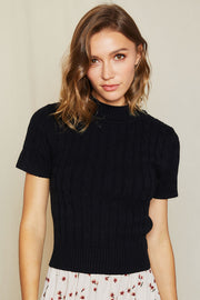Janny Cable Knit Mock Neck Top