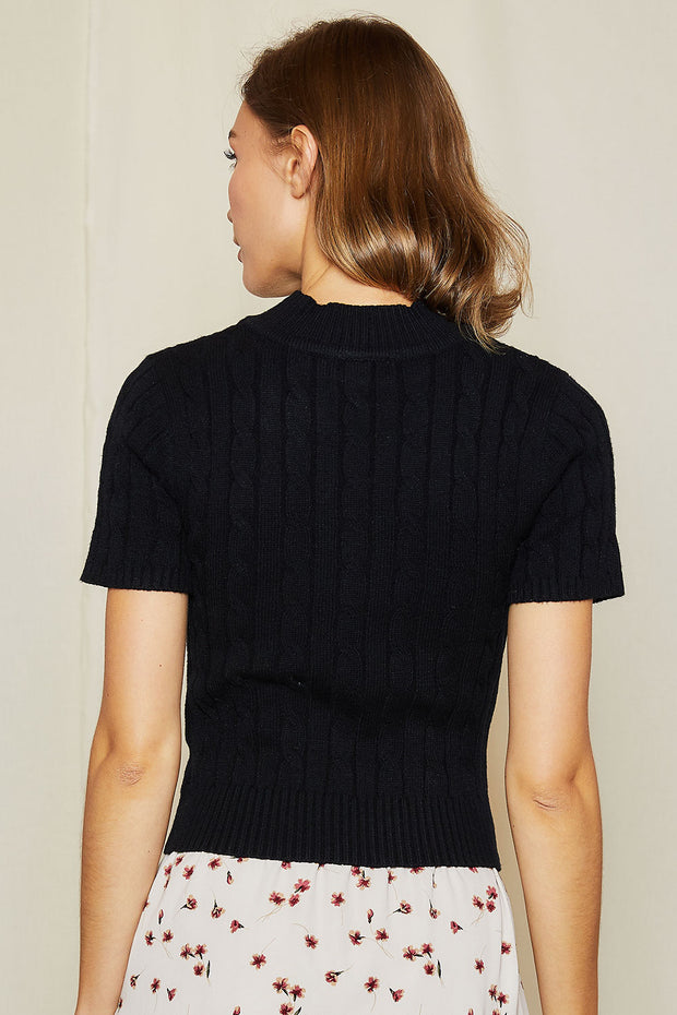 storets.com Janny Cable Knit Mock Neck Top