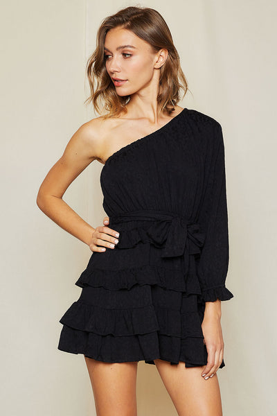 storets.com Sierra Print One Shoulder Tiered Dress